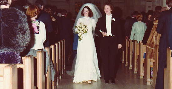 January 20, 1979: The tradition begins with the wedding of David Plant '77 and Patti Brownridge '76