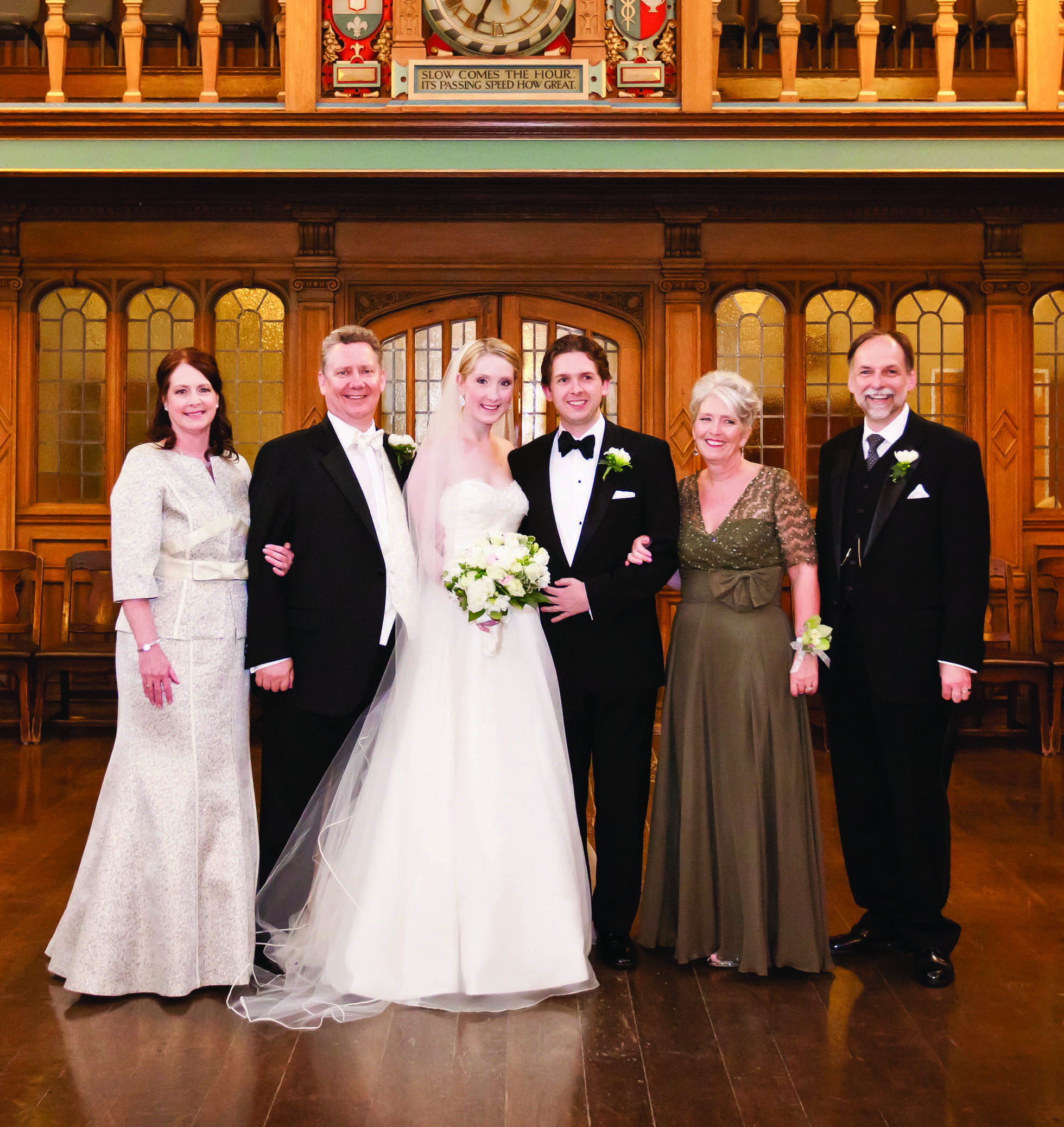 June 4, 2011: The wedding of Miranda Plant '08 and Todd Byers. Pictured, left to right: Patti Plant '76, David Plant '77, Miranda Plant '08, Todd Byers, Dorothy (Todd) Byers '77, Ted Byers '79