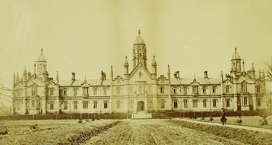 The original Trinity College Building opened in 1852 was designed by architect Kivas Tully