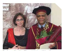 Prof. Abrahim Khan (right) and his wife, Pamela Khan.
