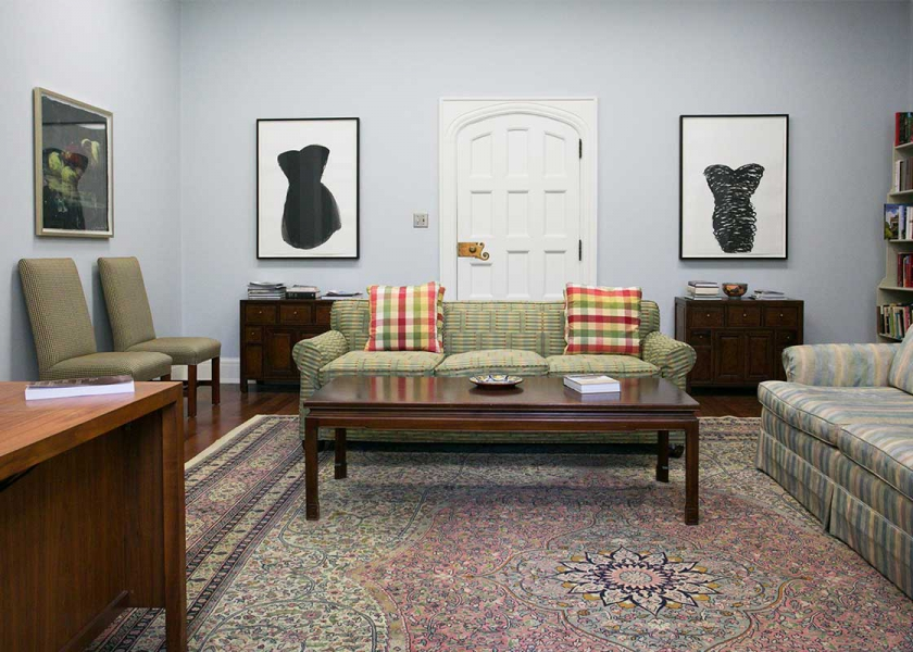 After - image of the Provost's Office, couches, art