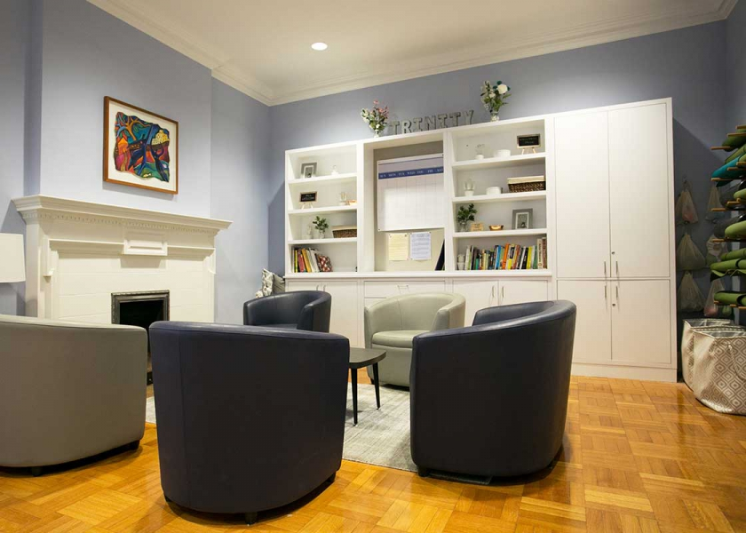 After - image of the new Abbott Room, Student can use the room to brainstorm, meet, chat or relax