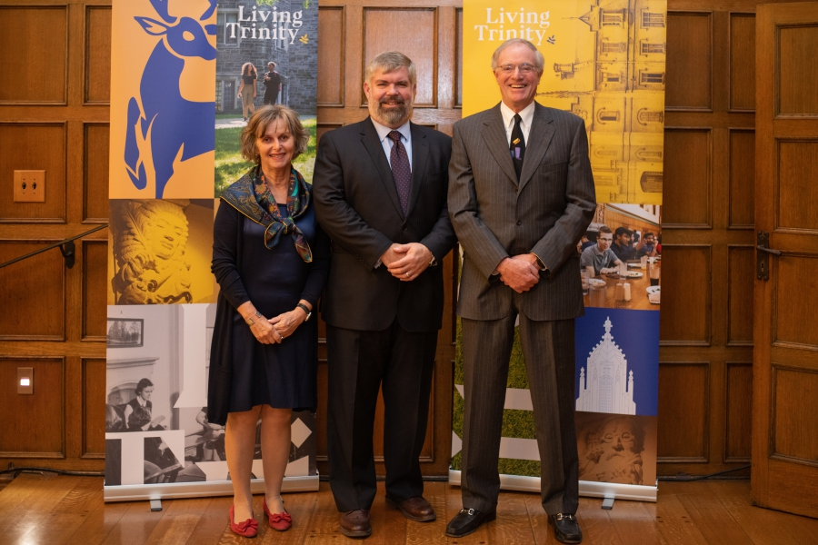 Carolyn Kearns (left) and Michael Royce (right), Co-Chairs, Living Trinity Campaign Cabinet with Andrew McFarlane (centre), Chair, Trinity College Board of Trustees