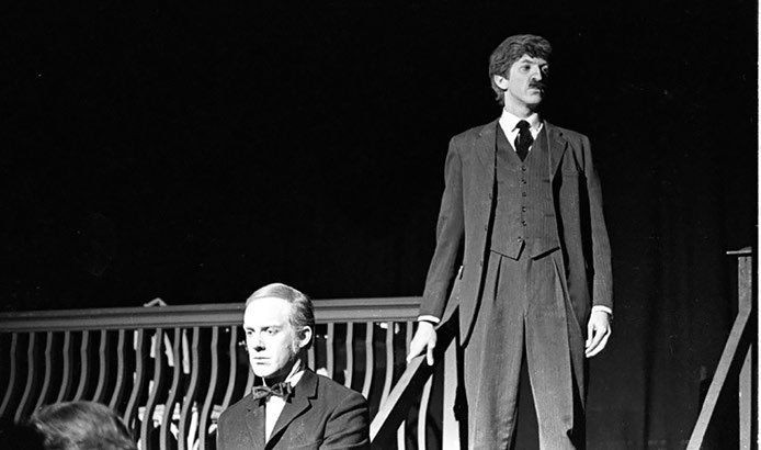 "Thomson, right, as the Mayor in ""The Visit"" at the U of T Glen Morris Theatre (now the Luella Massey Studio Theatre), 1968"