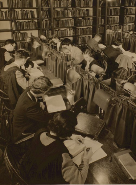 The library in the main hallway of 6 Hoskin Avenue (c. 1950)