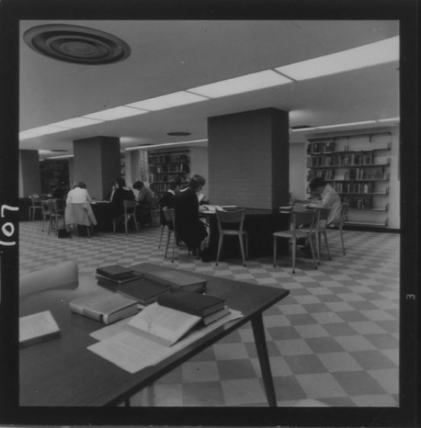 The library in the basement of 6 Hoskin Avenue (c. 1960)